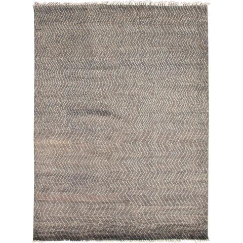 ECARPETGALLERY Hand-knotted Pak Finest Marrakesh Grey Wool Rug - 8'11 x 12'2