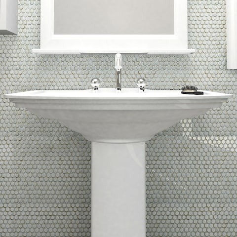 SomerTile 12x12.625-inch Penny Silk White Porcelain Mosaic Floor and Wall Tile