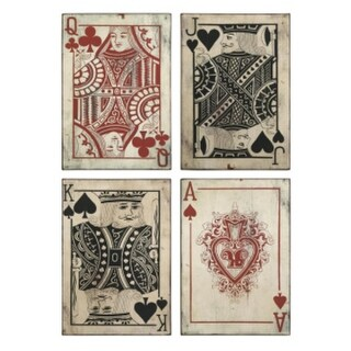 Set of 4 Antique-Style Casino Playing Cards Wall Art Decorations