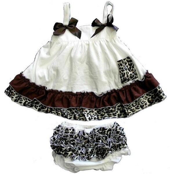 Wenchoice Baby Girls Ivory Cheetah Bow Ruffles Swing Top Set