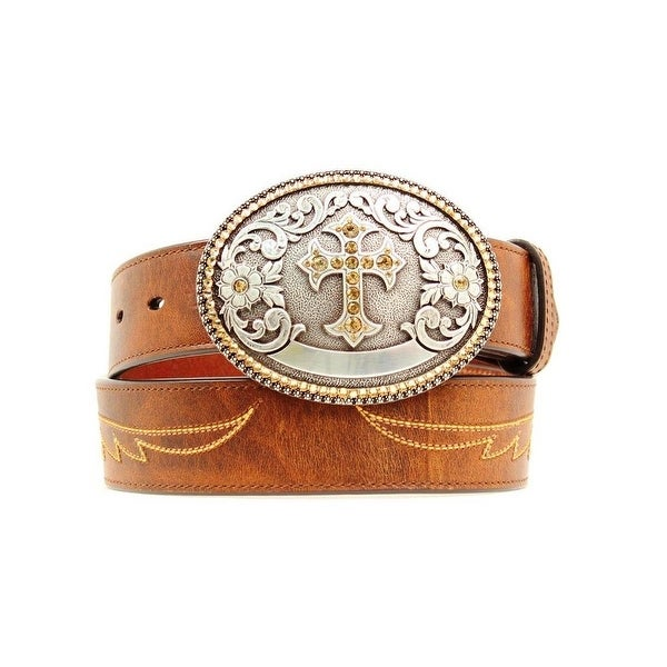 Ariat Western Belt Womens Cross Embroidered Wings Brown