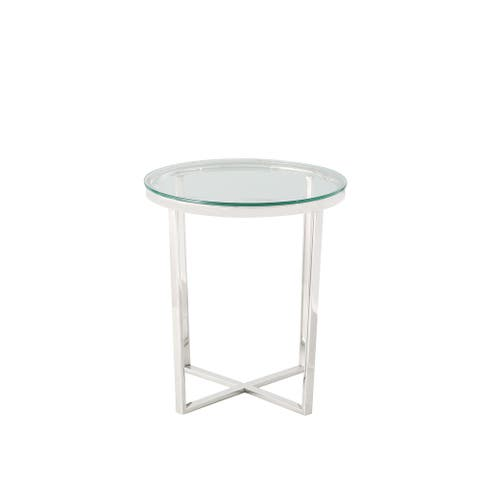 """Celipu Classic 23"""" Round End Table With Stainless legs"""