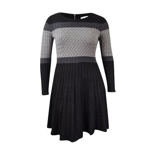 Calvin Klein Women's Colorblocked Cable-Knit Sweater Dress - Black/Charcoal