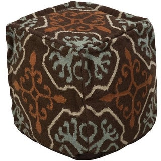 "18"" Teal Blue and Chocolate Brown Southwestern Cross Wool Square Pouf Ottoman"