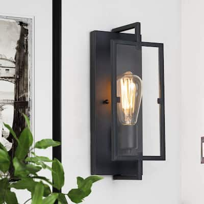 1-Light Matte Black Wall Sconce Vanity Light with Clear Glass Pane - 5 in. W x 13 in. H x 4 in. E