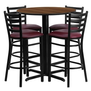 "Dyersburg 5pcs Table Set Round 30"" Walnut X-Base, Burgundy Barstool"