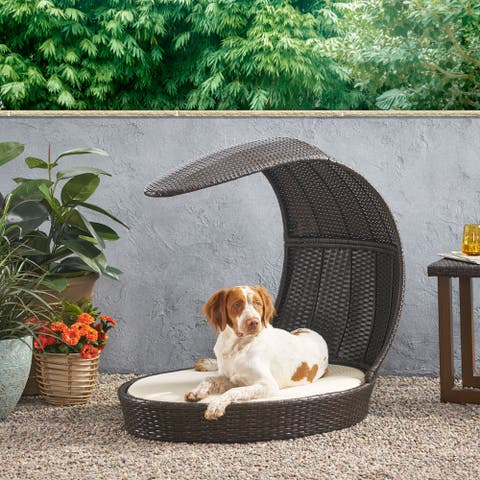 Mershon Outdoor Outdoor Dog Bed with Water Resistant Cushion by Christopher Knight Home
