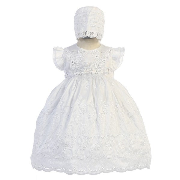 Angels Garment Baby Girls White Flutter Sleeve Bonnet Baptism Dress 6-12M