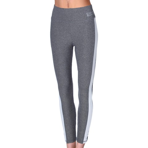 Bebe Sport Women's Heathered Stripe Full Length Activewear Fitness Leggings - Heather Grey