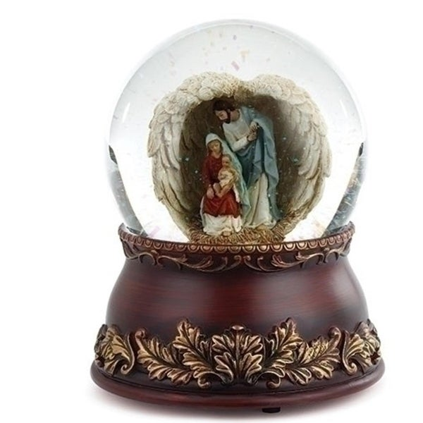 "Set of 2 Musical Religious Holy Family in Wings Christmas Glitter Dome 6.75"" - brown"