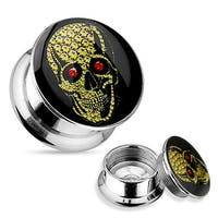 Yellow Skull with Red Eye 316L Surgical Steel Screw Fit Plug (Sold Individually)