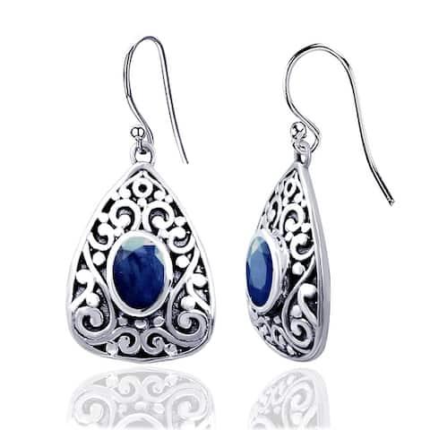 Amethyst, Emerald, Sapphire Sterling Silver Oval Dangle Earrings by Orchid Jewelry