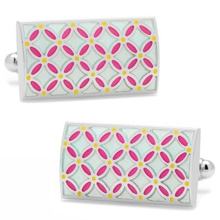 Light Blue and Pink Enamel Floral Print Rectangle Cufflinks