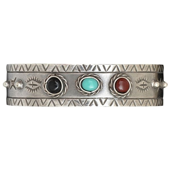 LoulaBelle Western Jewelry Womens Bracelet Southwest Silver LLB9002M - silver turquoise