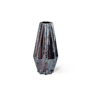 "11.5"" Antique Bronze and Blue Ercilia Small Ceramic Vase - N/A"