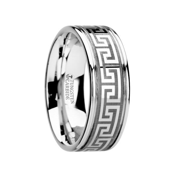 Thasos Grooved Tungsten Carbide Wedding Band With Greek Key Meander Design