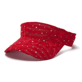 Glitter Sequin Visor in 19 Assorted Colors - Red