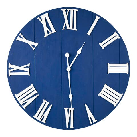 Stratton Home Decor William Blue Wood Wall Clock - 28.00 X 1.75 X 28.00