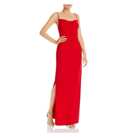 LAUNDRY Red Spaghetti Strap Full-Length Dress 8