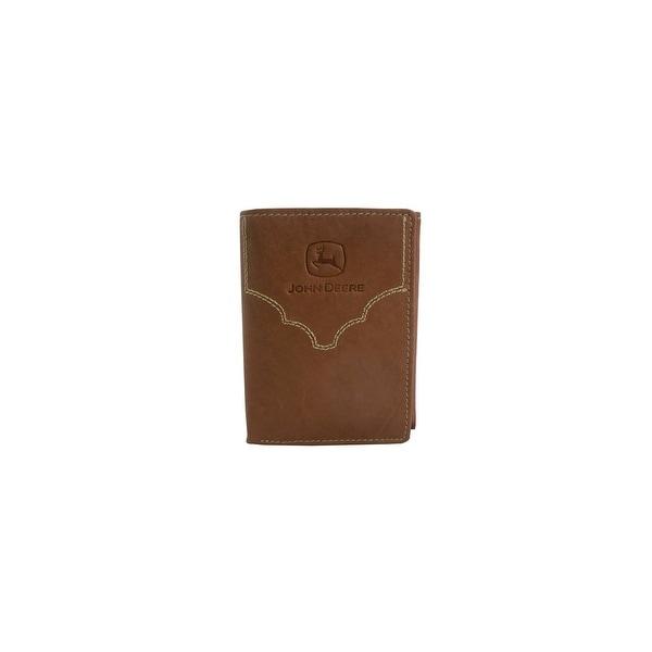 John Deere Western Wallet Mens Trifold Contrast Brown - One size