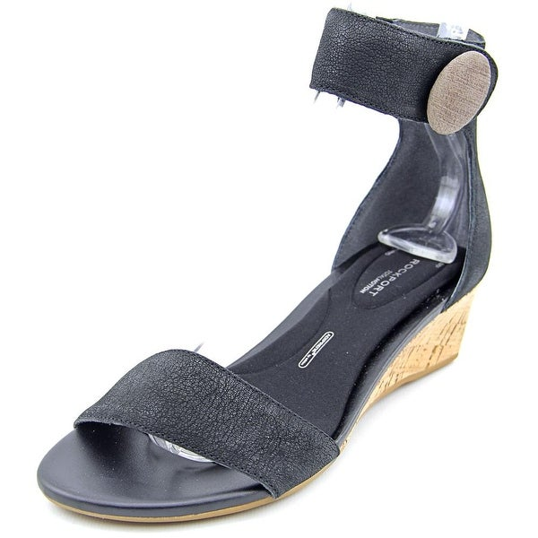 Rockport TM55MWS Ankle Strap Women Open Toe Leather Black Sandals