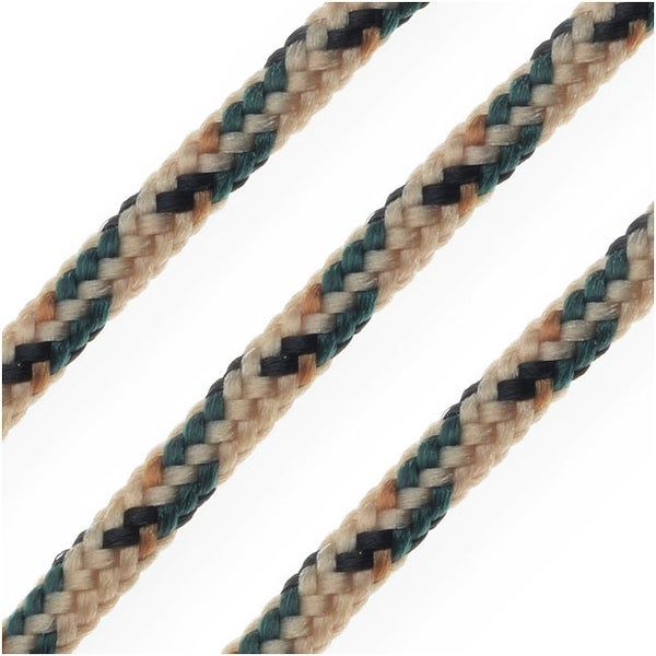 Parachute Cord, Multi-Colored Nylon Strands 2.5mm Thick, 5 Meters, Beige / Black