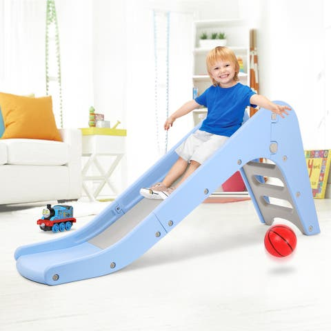 Big Folding Large Slide with Basketball Hoop, Easy Climb Stairs and Ring Games Sports Climber for Toddler - M