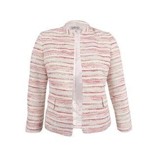 Kasper Women's Petite Striped Tweed Flyaway Jacket (12P, Valencia/White) - black/vanilla ice - 12P