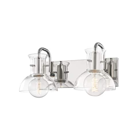 Mitzi by Hudson Valley Riley 2-light Polished Nickel Bath Light, Clear Glass