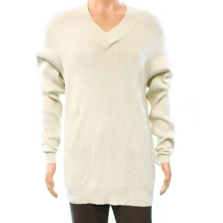 INC NEW Sesame Ivory Mens Size XL V-Neck Ribbed Long Sleeve Sweater