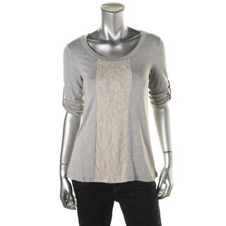 Casual Couture by Green Envelope Womens Heathered Lace Trim Pullover Top - L