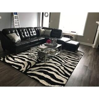 Safavieh Zebra Shag Off-White/ Black Rug (8' x 10')