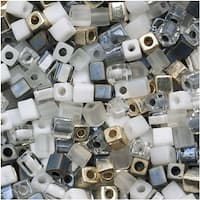 Miyuki 4mm Glass Cube Beads Color Mix Apparition Grey Ghost 10 Grams