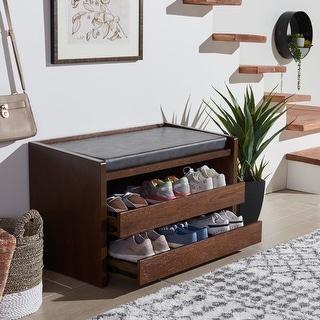 """Safavieh Percy Shoe Storage Bench -White / Grey - 33.8"""" x 17.5"""" x 20.6"""""""