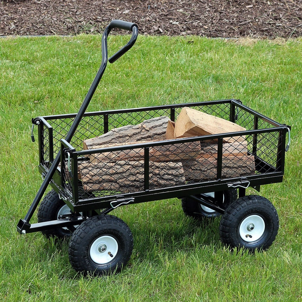 Sunnydaze Heavy-Duty Steel Log Cart, 34 Inches Long x 18 Inches Wide, 400 Pound Weight Capacity - Thumbnail 28
