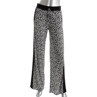 Silva Womens Floral Print Wide Leg Casual Pants - M