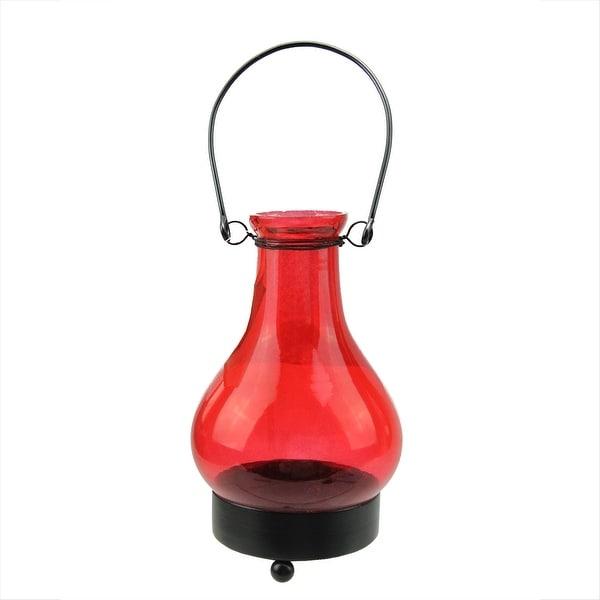 "6.5"" Transparent Red India Glass Bottle Tea Light Candle Lantern Decoration"