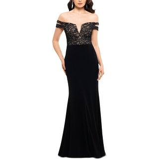 Link to X by Xscape Womens Evening Dress Lace Sequined - Black/Nude Similar Items in Dresses