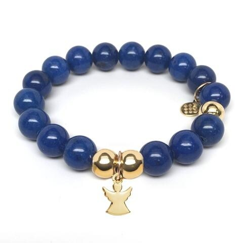 Julieta Jewelry Angel Charm Blue Jade Bracelet