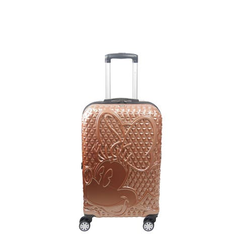 Disney Ful Textured Minnie Mouse 21in Hard Sided Rolling Luggage, Rose Gold