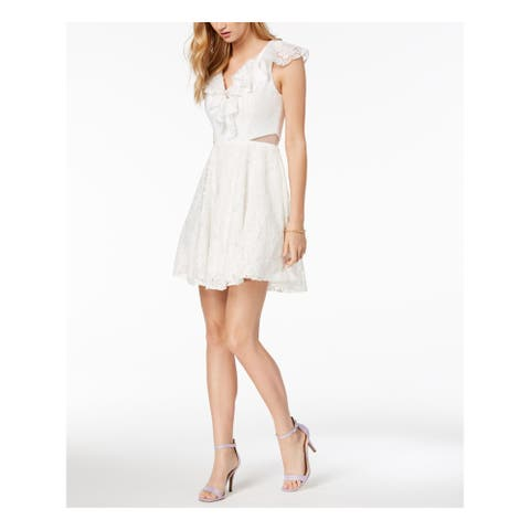 XSCAPE White Short Sleeve Above The Knee Fit + Flare Dress Size 2
