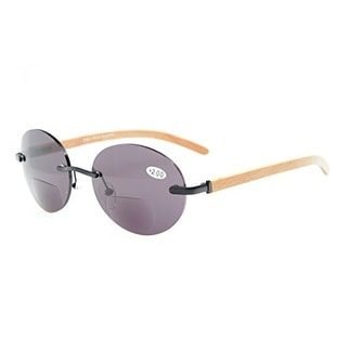 0b0e30aae4f Shop Eyekepper Spring Hinges Rimless Round Bifocal Sunglasses Black Grey  Lens +1.25 - Free Shipping On Orders Over  45 - Overstock.com - 15913295