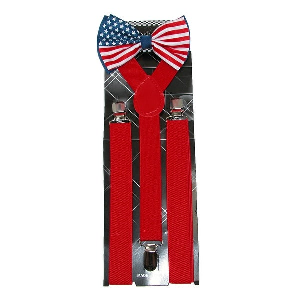 CTM® Men's American Flag Bow Tie with Solid Suspender Set - One size