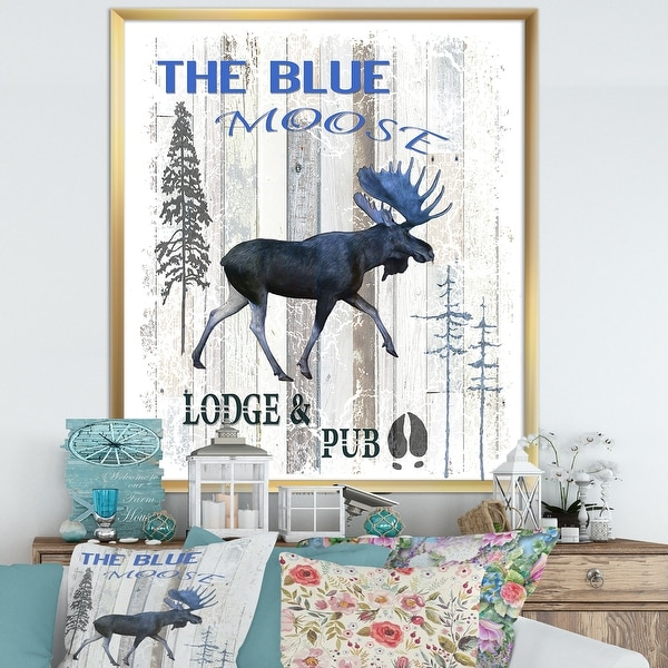 Designart 'The Blue Moose' Cottage Framed Art Print. Opens flyout.
