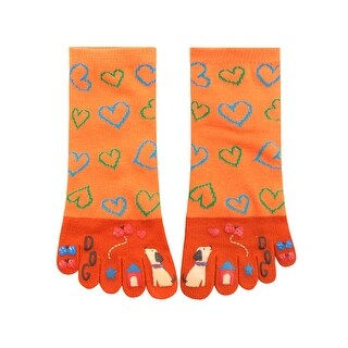 Women Heart Cartoon Pattern Elastic Cuffs Stretchy Toe Socks Orange