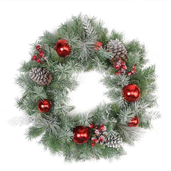 "24"" Flocked Pine, Red Ball, Berries & Silver Cedar Artificial Christmas Wreath - Unlit"