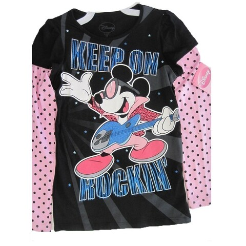 Disney Girls Black Pink Mickey Mouse Dotted Long Sleeved T-Shirt 7-16