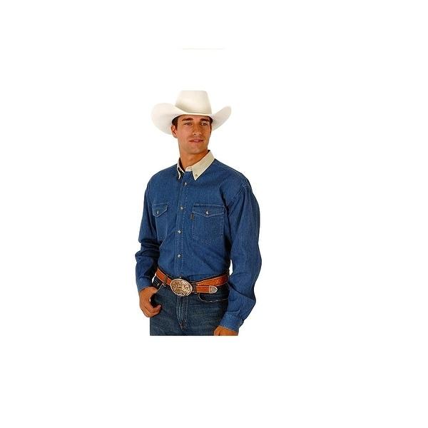 Roper Western Shirt Mens L/S Tall Solid Denim Blue
