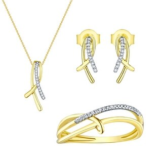 Prism Jewel 0.10 TCW Round G-H/I1 Natural Diamond Pendant,Ring and Earring Set