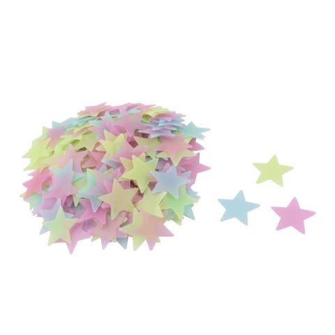 """Family Bedroom PVC Star Shaped Glowing Wall Door Sticker Decal 200pcs - Assorted Color - 1.5"""" x 1.5"""" x 0.04""""(L*W*T)"""